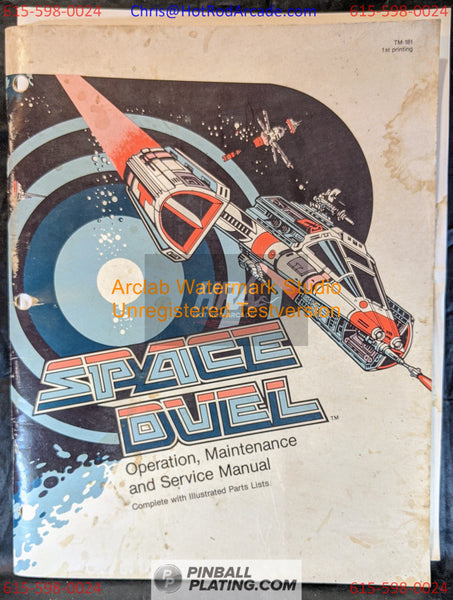 Space Duel - Atari  - Arcade Manual - Schematics - Instructions -Used Copy