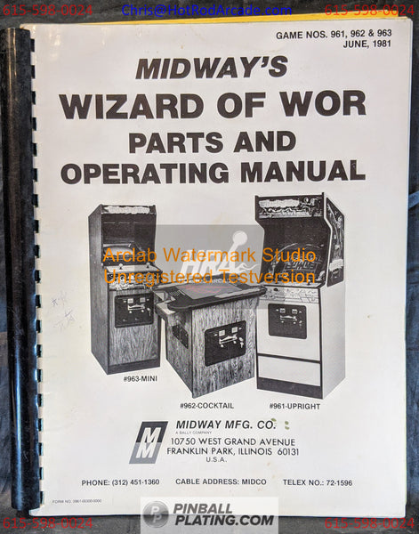 Wizard of Wor - Midway - Arcade Manual - Schematics - Instructions - Book - Original Used Copy - FREE SHIPPING!