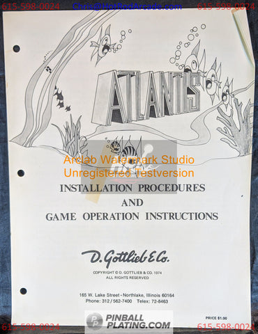 Atlantis - Gottlieb - Pinball Manual - Schematics - Instructions - Book - Original Used Copy - FREE SHIPPING!