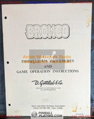 Bronco - Gottlieb - Pinball Manual - Schematics - Instructions - Book - Used Copy