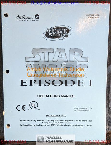Star Wars Episode 1 (Copy #2) - Willliams- Pinball Manual - Schematics - Instructions - Used Copy!