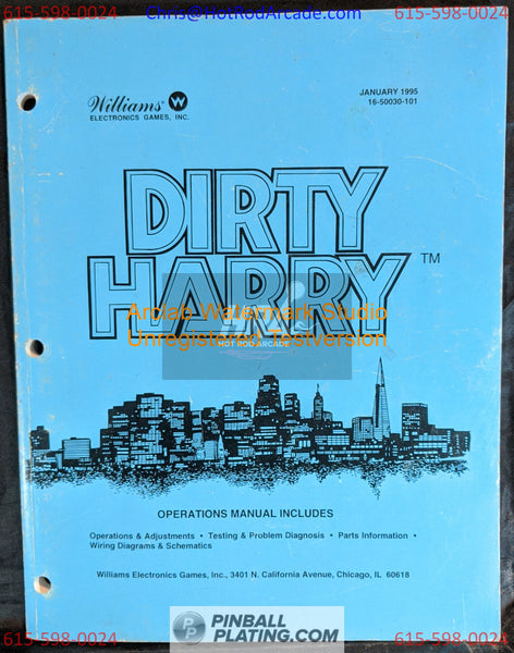Dirty Harry - Williams - Pinball Manual - Schematics - Instructions - Book - Original Used Copy - FREE SHIPPING!