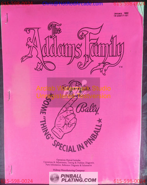 The Addams Family - Bally - Pinball Manual - Schematics - Instructions - Used Copy