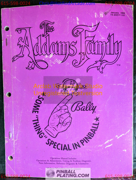 The Addams Family (Copy #3) - Bally - Pinball Manual - Schematics - Instructions - Book - Original Used Copy - FREE SHIPPING!