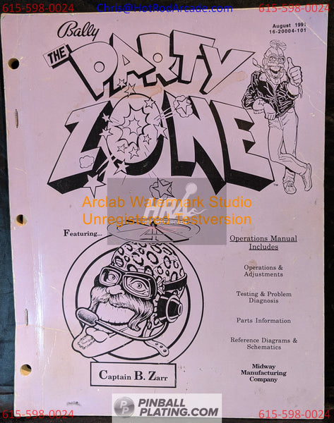 The Party Zone (Copy #5) - Bally - Pinball Manual - Schematics - Instructions - Book - Original Used Copy - FREE SHIPPING!