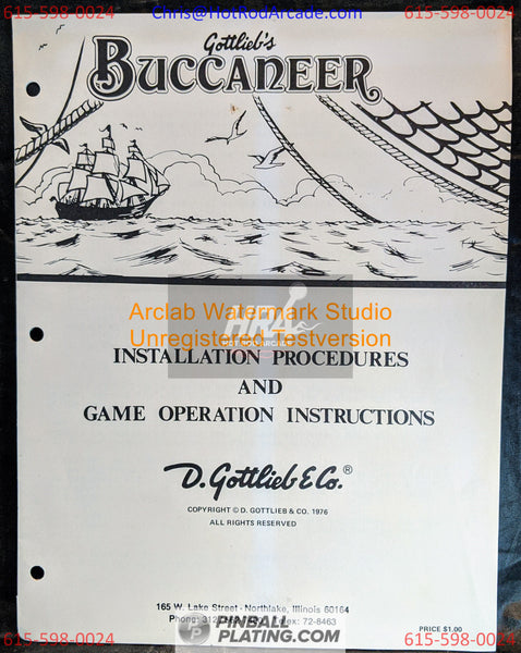 Bucccaneer - Gottlieb - Pinball Manual - Instructions - Used Copy