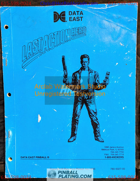Last Action Hero - Data East - Pinball Manual - Schematics - Used Copy
