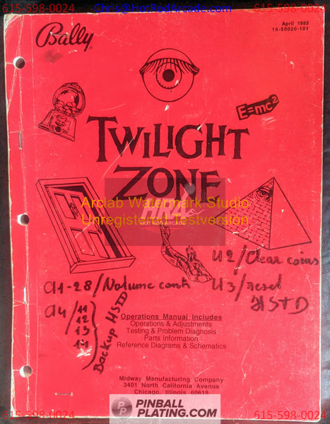 Twilight Zone  - Bally - Pinball Operations Manual - Reference Wiring - Instructions -Used Copy