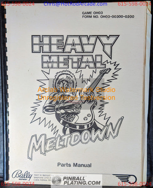 Heavy Metal Meltdown - Bally - Pinball Manual - Schematics - Instructions - Book - Original Used Copy - FREE SHIPPING!