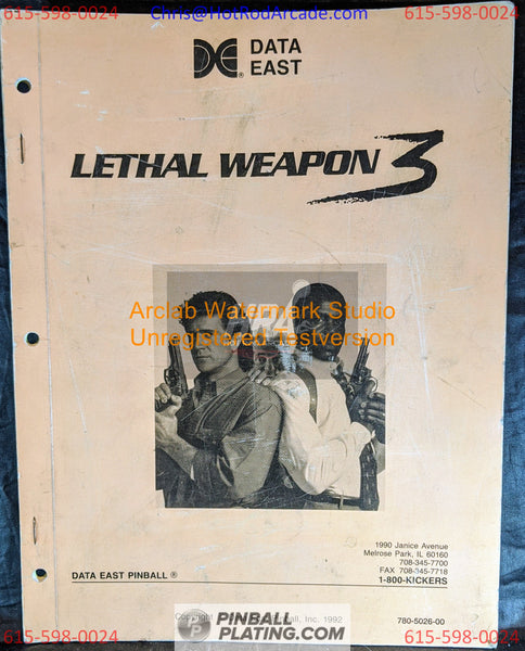 Lethal Weapon 3 - Data East - Pinball Manual - Schematics - Instructions - Book - Original Used Copy - FREE SHIPPING!