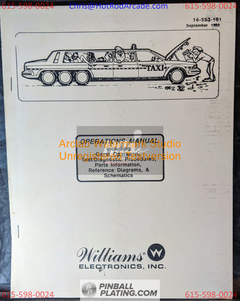 Taxi - Williams - Pinball Manual - Schematics - Instructions -Used Copy