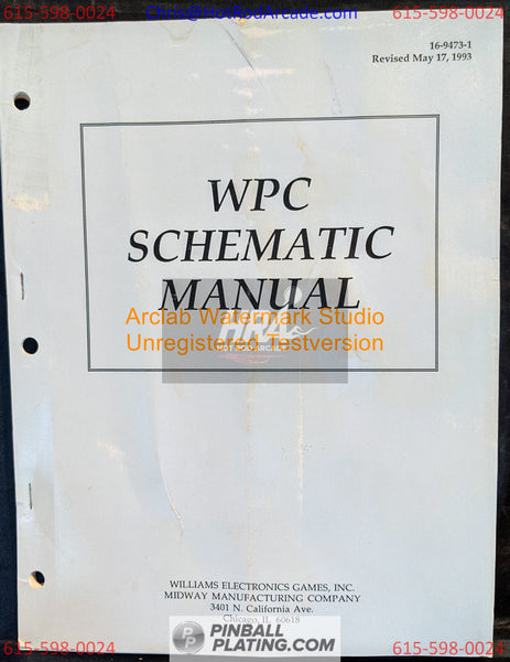WPC Schematics Pinball Manual - Williams - Instructions - Used Copy