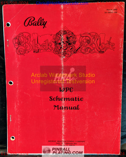 Black Rose- Bally - Pinball Manual - Schematics - Instructions - Book - Used Copy