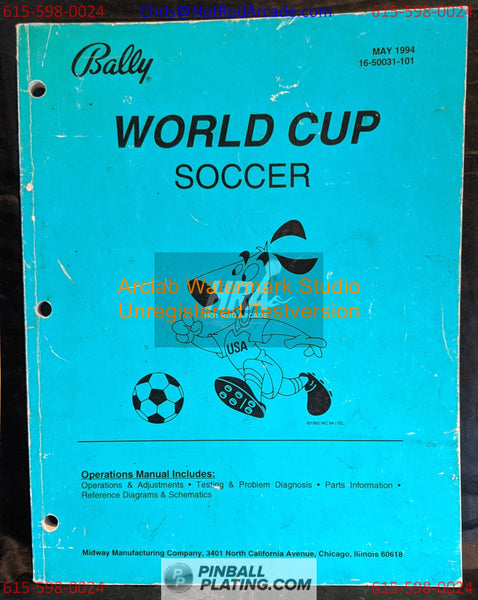 World Cup Soccer - Bally - Pinball Manual - Schematics - Instructions - Used Copy
