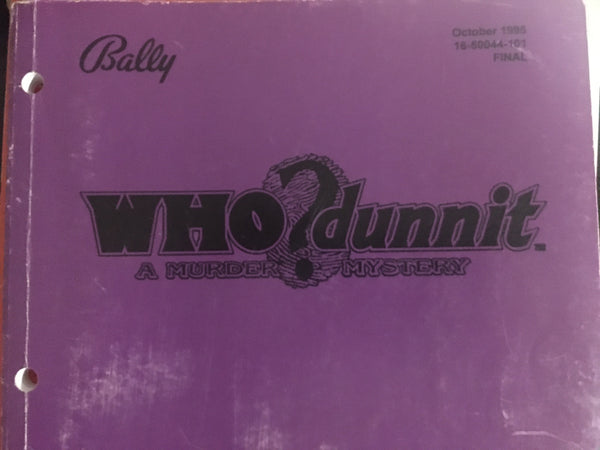 Who dunnit? - Bally - Pinball Operations Manual - Instructions, Diagrams, Parts- Used Copy