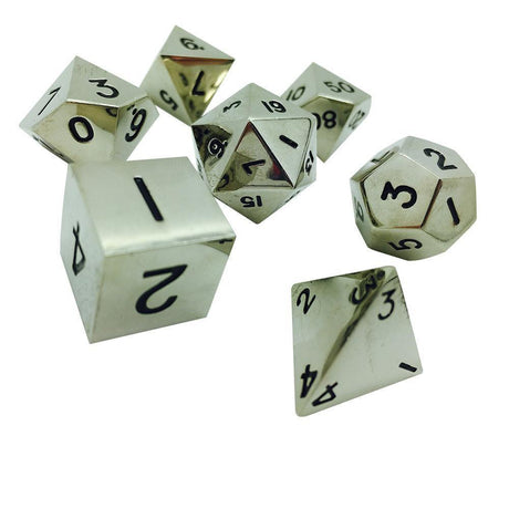 CHAINMAIL SILVER 7 PIECE METAL DICE SET