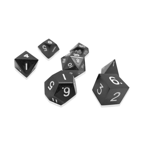 DROW BLACK 7 PIECE METAL DICE SET