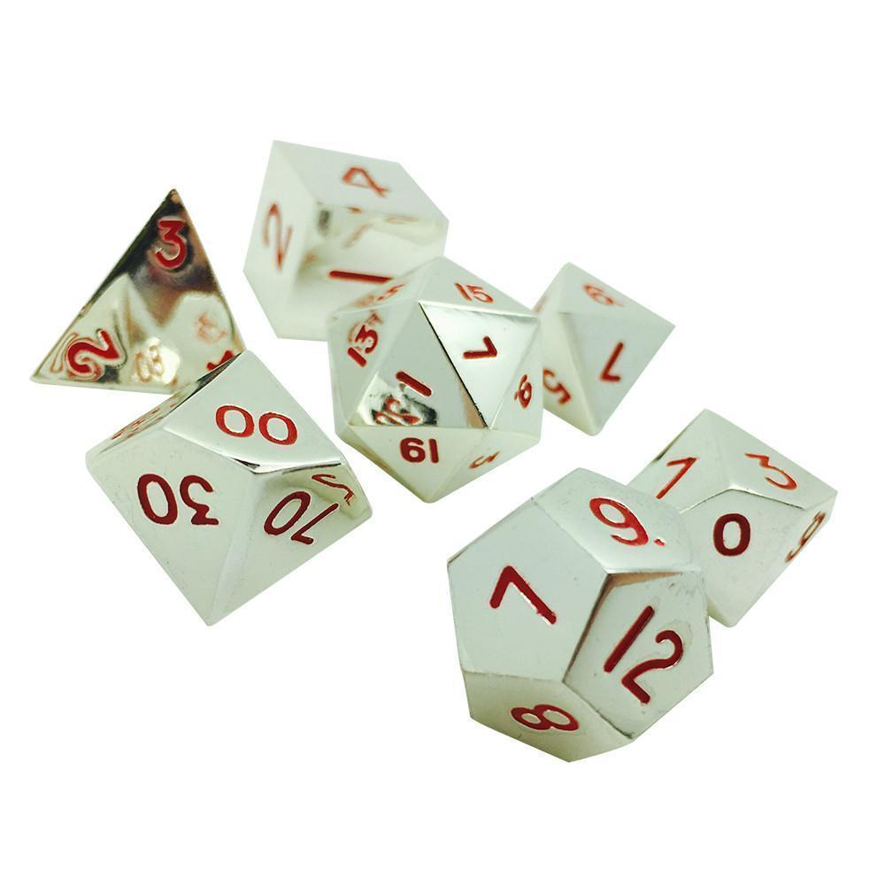 LYCANTHROPE SILVER 7 PIECE METAL DICE SET