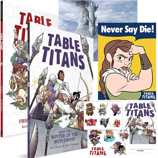 TABLE TITANS VOLUME 1 & 2 + PRINTS, STICKERS, & SIGNED BOOKPLATE