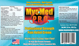 Myomed P.R.O. Professional Strength Pain Relief Cream Ingredient Label