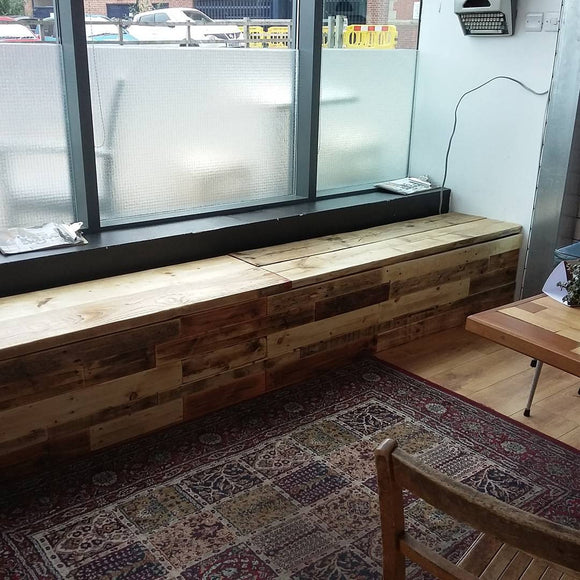 Reclaimed wooden storage bench