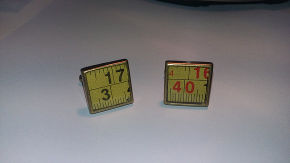 Bronze Cufflinks - Up-cycled from a broken tape measure