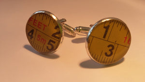 Cufflinks - Up-cycled from a broken tape measure