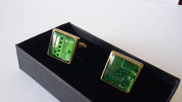 Up-cycled motherboard cufflinks