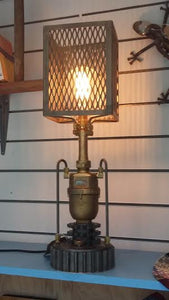 Up-cycled industrial table lamp