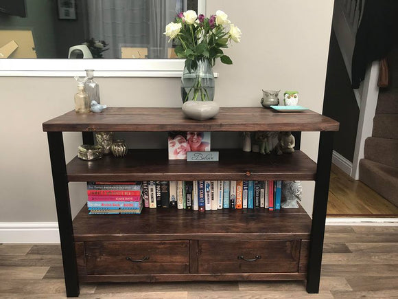Side Table with drawers made from reclaimed scaffold boards