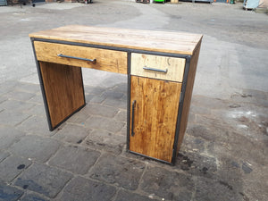 Office Desk made from steel box section and reclaimed scaffold boards