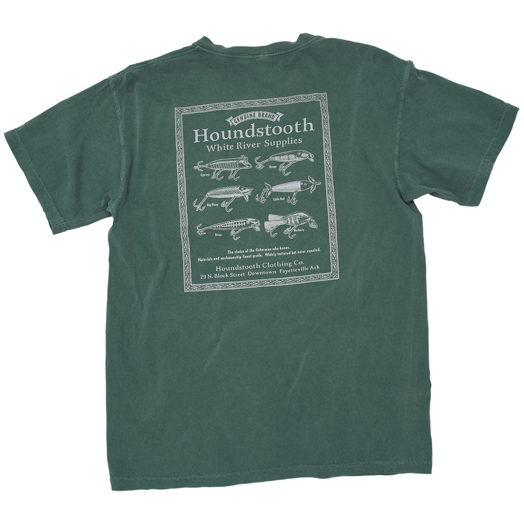 Local Fayetteville, Arkansas Clothing brand Houndstooth Clothing company comfortable T shirt called 6 Lures in the color Light Green. Part of our White River Supplies category in our Legacy Collection.