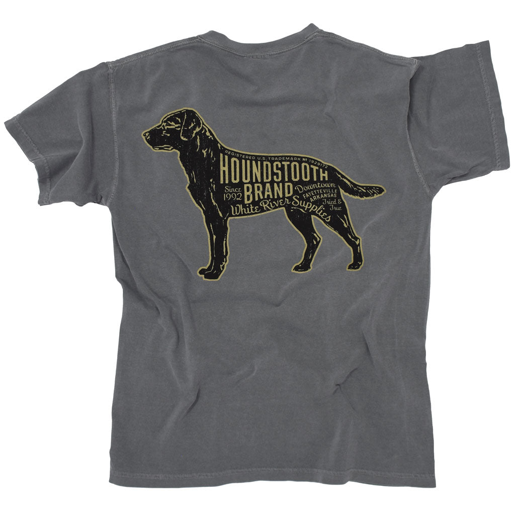 A grey shirt with a picture of a labrador on it with text that says Houndstooth Brand.