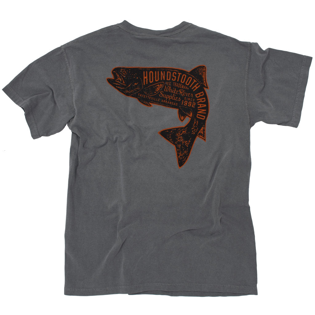A grey shirt with an orange trout on it, inside the trout it says Houndstooth Brand.
