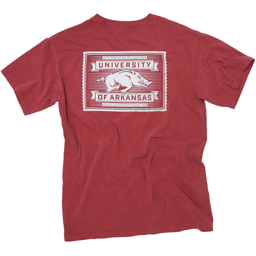 Red University of Arkansas Razorback apparel T shirt with a Hog on it.