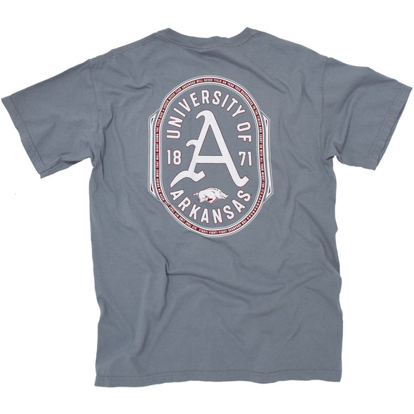 Grey University of Arkansas Razorback Fight Song T shirt with the gothic A.