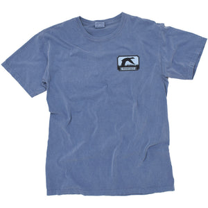A blue t shirt with a colorful drawing of a duck flying over water in Arkansas.