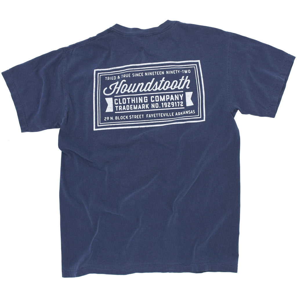 Navy t shirt with white text reading Houndstooth Clothing Company, made by a local Fayetteville, Arkansas business.