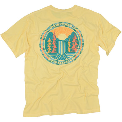 Yellow t shirt with art of a waterfall and trees in the Ozark Mountains.