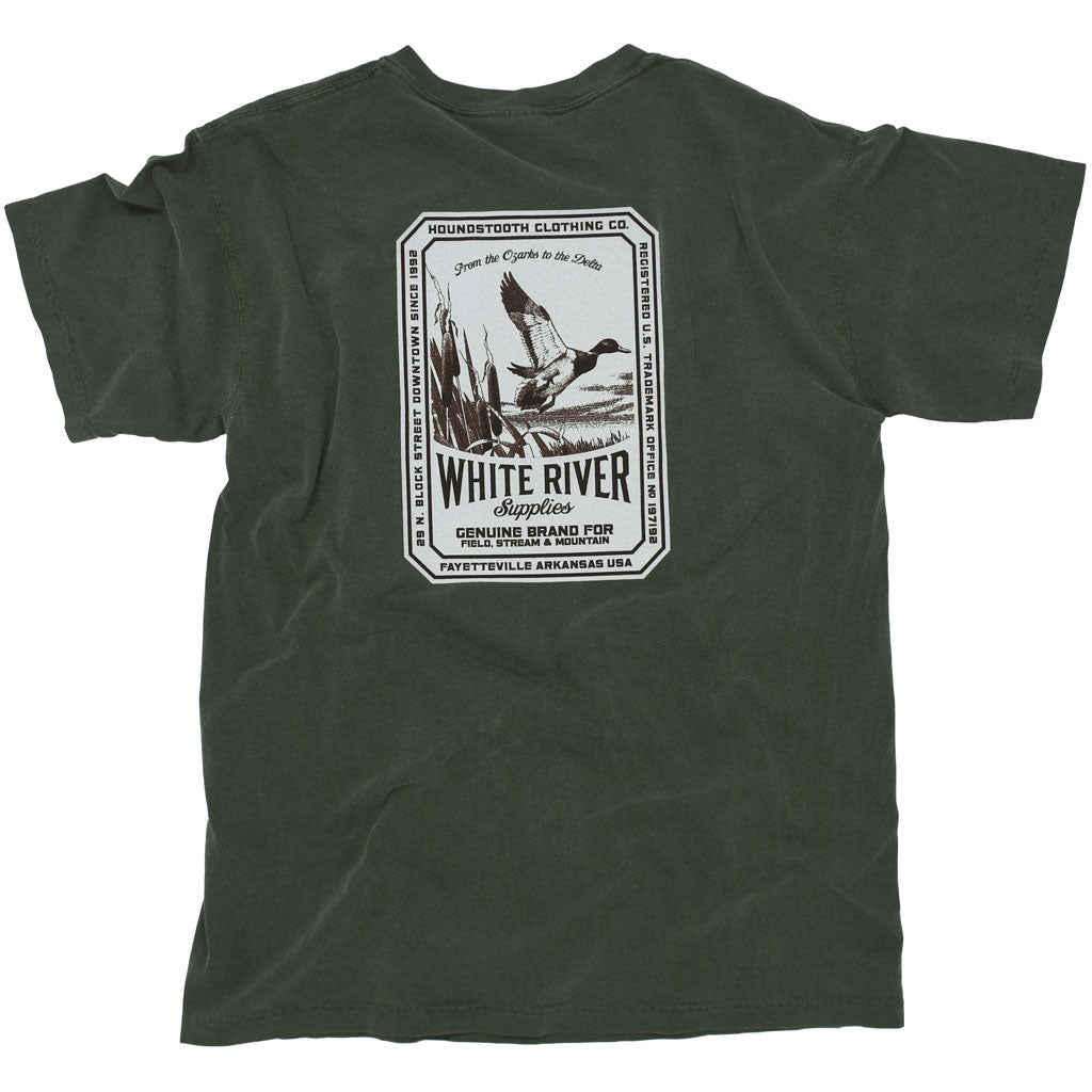 A dark green t shirt with a white and brown drawing of a duck flying in the Ozarks.