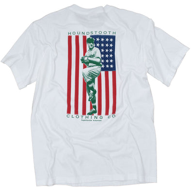 A patriotic white t shirt with a picture of a vintage baseball player over the American Flag.