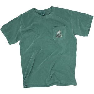 Local Fayetteville, Arkansas business, Houndstooth Clothing Company T shirt called Hike the Ozarks in the color Light Green. This tee is a comfort color, and features trees, the Ozark Mountains, and rivers.