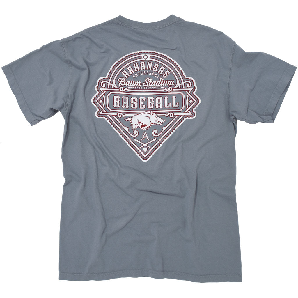 Grey university of arkansas razorback baseball t shirt with a hog and baum stadium.