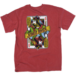 A red t-shirt with art like a playing card with someone holding paddles to float the kings river.