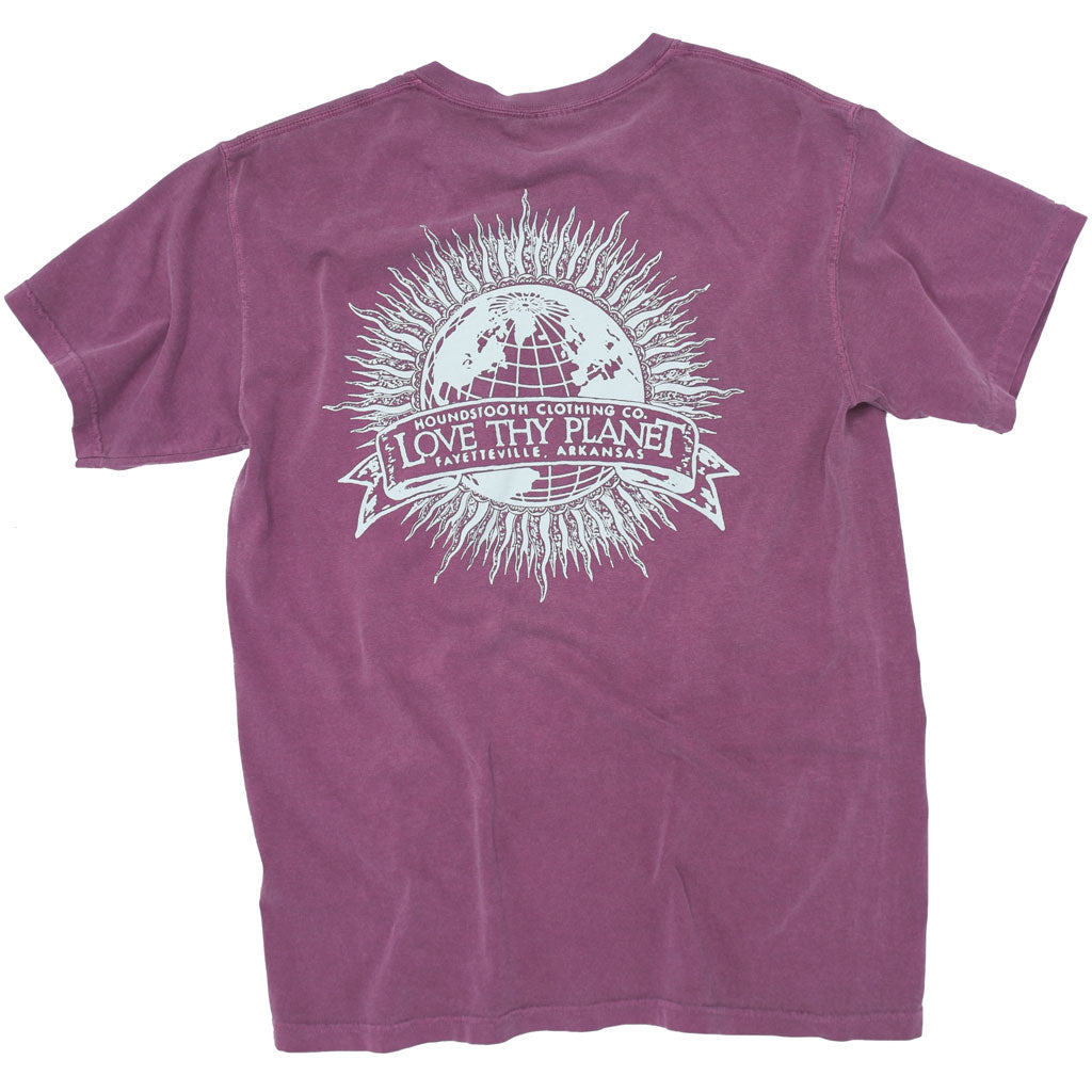 Purple environmental shirt with a picture of Earth that has sun rays coming off of it and the text says Love Thy Planet.
