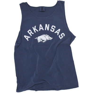 Simple navy University of Arkansas Razorback Tank Top with a Hog.