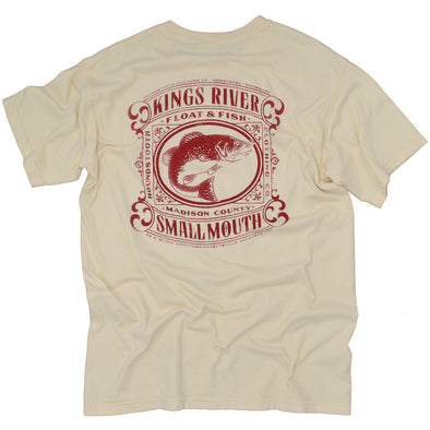 Cream colored t shirt with a red drawing of a small mouth bass flailing on Kings River.