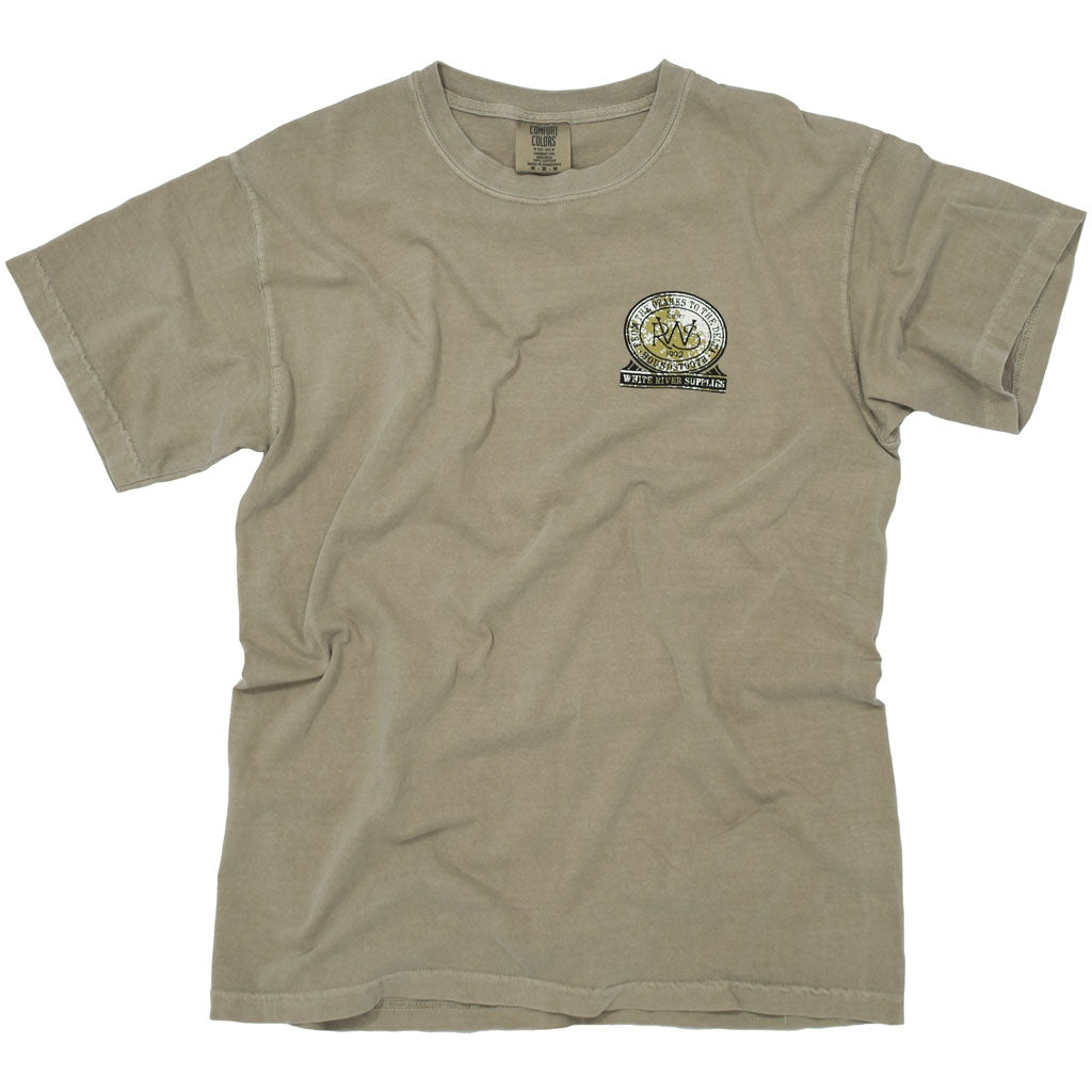 A tan colored t shirt with a drawing of a deer by White River Supplies