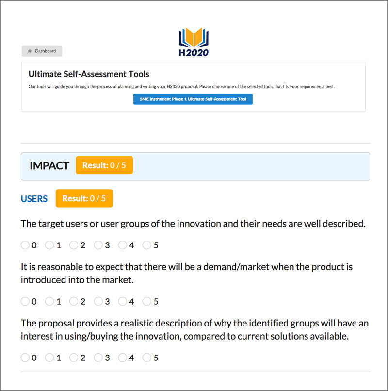 SME Instrument Phase 1 Ultimate Self-Assessment Tool