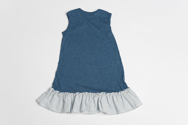 5th Ave Flutter Dress Sleeveless- Blue - Lucy & Leo - 3